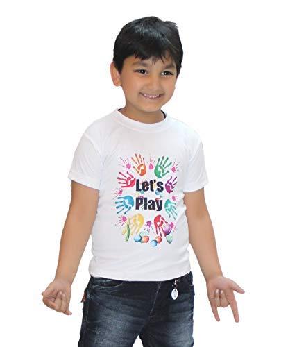 Kaku Fancy Dresses Printed White Holi T-Shirt Costume for Boys & Girls (Let's Play_7-8 years)