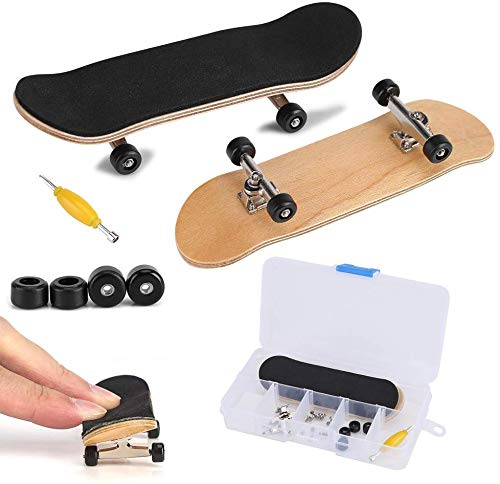 Fingerboard Finger Skateboards, Mini diapasón, Patineta de Dedos Profesional para Maple Wood DIY Assembly Skate Boarding Toy Juegos de Deportes Kids (Negro)