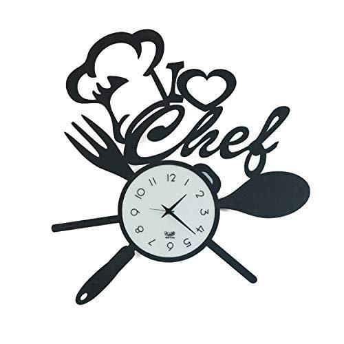 Arti & Mestieri I Love Chef - Orologio da Parete di Design 100% Made in Italy - in Ferro, 50 x 50 cm - Nero Goffrato