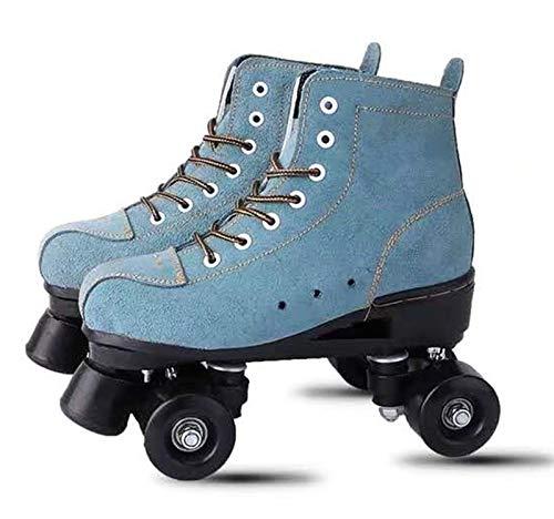 Wildleder Leder Erwachsene 4 Räder Schlittschuhe für Eisbahn, Anfänger Mode Rollschuhe, Zweireihige Schlittschuhe für Männer und Frauen Kinder Erwachsene Schlittschuhe,Grün,41
