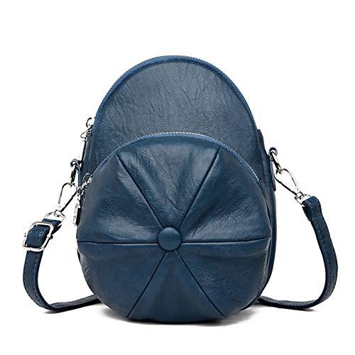 Bolso pequeño de piel sintética para mujer, diseño redondo, con bandolera, color azul