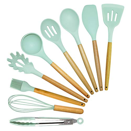 CDFD 6Color Silicone Cooking Utensils Set Non-Stick Spatula Shovel Wooden Handle Cooking Tools Set with Storage Box Kitchen Tools,Green-9PcsB