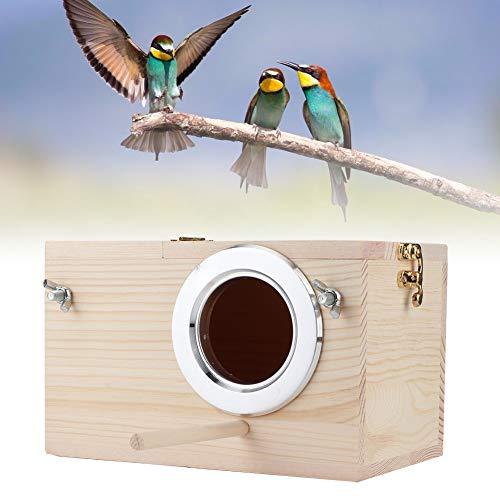 Nido de cría de madera, caja de nido de pájaros de madera, casa de anidación de periquitos, caja de jaula de pajarera para tortolitos cacatúa loro canarios grises de África caja de pajarera/us