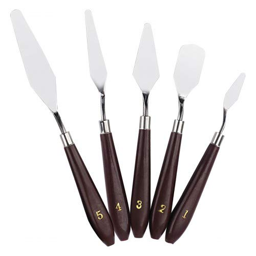 HQDeal 5PCS Painting Knife Set, Palette Knife Painting Tools, Oil Painting Mixing Scraper, Stainless Steel Artist Oil Painting Spatula Mixing Spatula Paint Oil Painting Accessories Art- Brown