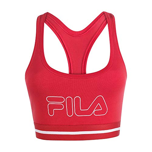 Fila Women's Classic Logo Cotton Racerback Sports Bra Fire Red
