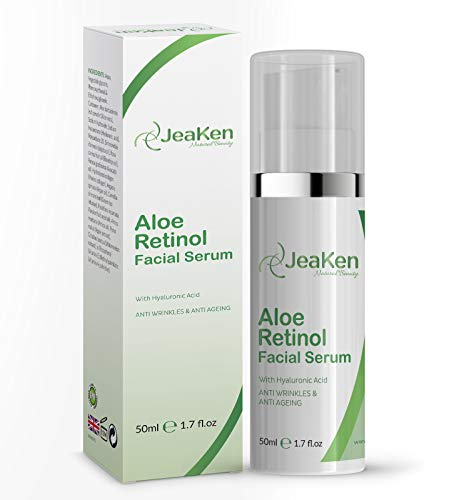 Anti Aging Aloe Retinol Face Serum - Natural Anti Wrinkle Cream with Hyaluronic Acid and Vitamin E - Rich Source Of Retinol Beta-Carotene - for Smoothing Fine Lines and Fade Dark Spots - 50ml Bottle