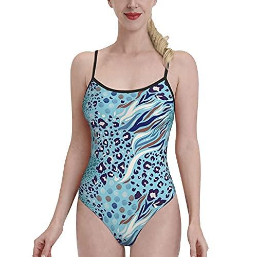 Traje de baño para niñas Bikinis de piel animal para mujer ajustable correa de espagueti de una pieza control de barriga