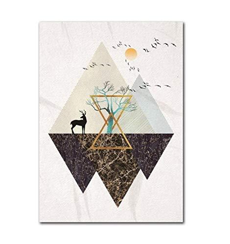 KDFN Poster Leinwand Malerei Wohnaccessoires nordische Stil abstrakte Kunst Landschaftsmalerei moderne Wandbild Schlafzimmer y