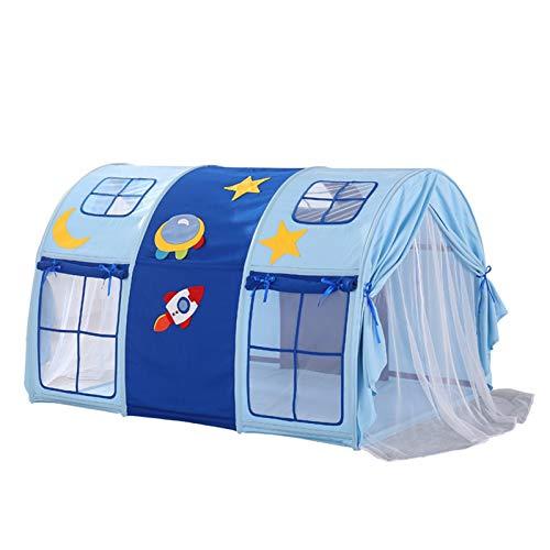 Tiendas de campaña, juegos divertidos de cúpula de dormitorio – Domo de cama de túnel para niño – Casa de juegos para niños – Juego (color: azul, tamaño: 120 x 140 x 90 – 95 cm)