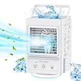 Portable Air Cooler Fan, 5000mAh Rechargeable Battery Operated Personal Air Conditioner Fan with 3 Wind Speeds, 120° Auto Oscillating Fan with 700ml Water Tank Easy to Refill Water or Ice