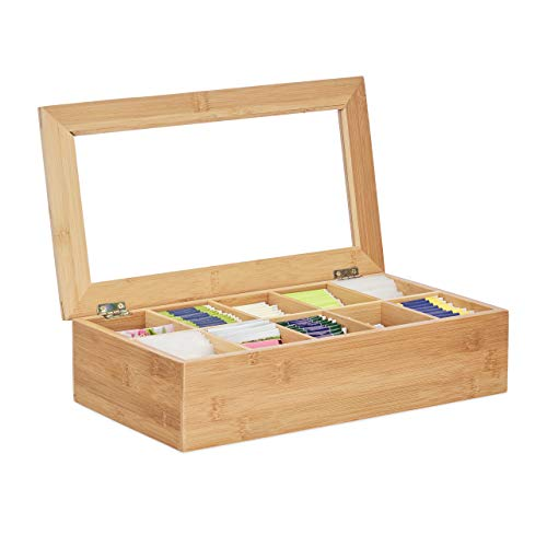 Relaxdays Caja para té e infusiones, 10 Compartimentos, Grande, Multi-usos, Sostenible, Transparente, Bambú, Marrón