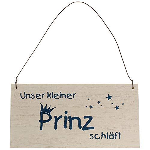 MACOSA HM50HOW35 Holz-Schild für Kinderzimmer Unser Kleiner Prinz schläft Türschild Dekoschild Weiß Blau Junge Hängeschild Wandschild Babyzimmer Deko