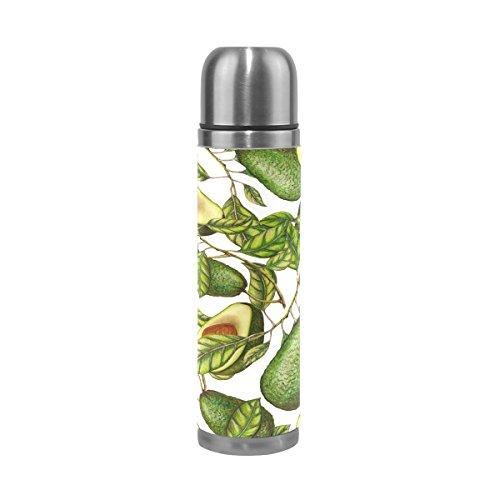 ALAZA Avocado Blätter doppelwandig Wasser Flasche Edelstahl Thermoskanne echtem Leder verpackt auslaufsicher für heiße und kalte Trinken 17Oz