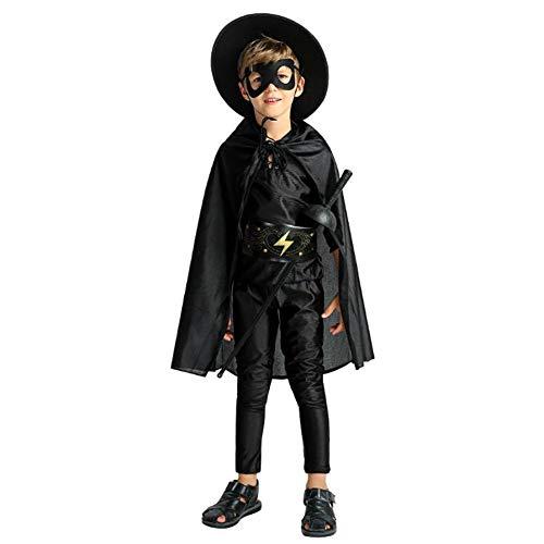 Mocha Disfraz Traje De Halloween Fiesta Zorro Cosplay Accesorios De Espada con Los Ojos Vendados Ropa Familiar Unisex para Mujeres Nias Hombres Nios Moda Adultos Nios Negro,Kid,L