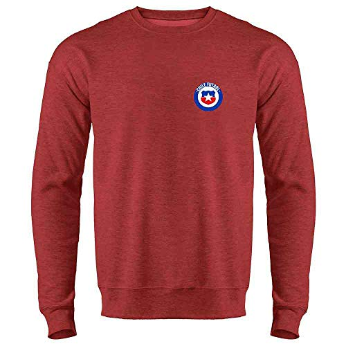 Chile Futbol Soccer Retro National Team Costume Heather Red S Crewneck Sweatshirt for Men