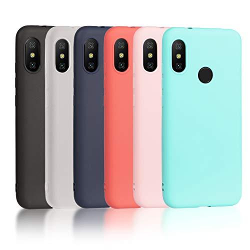 6 x Cover Xiaomi Mi A2 Lite, Wanxideng Custodia Morbido Opaco in Silicone TPU - Matt Silicone Case [ Nero + Rosso + Blu Scuro + Rosa + Verde Menta + Traslucido ]
