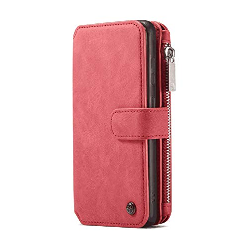 Leather Cover Compatible with Samsung Galaxy S10, Card Holders Premium Kickstand Detachable red Wallet Case for Samsung Galaxy S10
