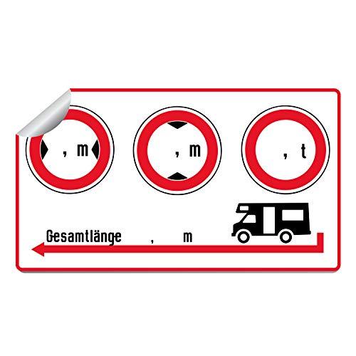 WoMoStyle Aufkleber für Wohnmobil, Wohnwagen, Caravan |Breite | Höhe | Gewicht | Länge | Größe 95x55mm