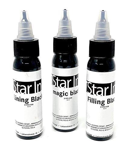 STAR INK - FARBSET - perfektes Schwarz - Set deutsche Premium Tattoofarbe - 3x30ml - made in Germany mit Zertifikat - INKgrafiX® - Schwarz IG51172 Black
