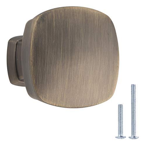 Amazon Basics - Pomo de armario, 3,2 cm de diámetro, latón envejecido, AB500-AB-25