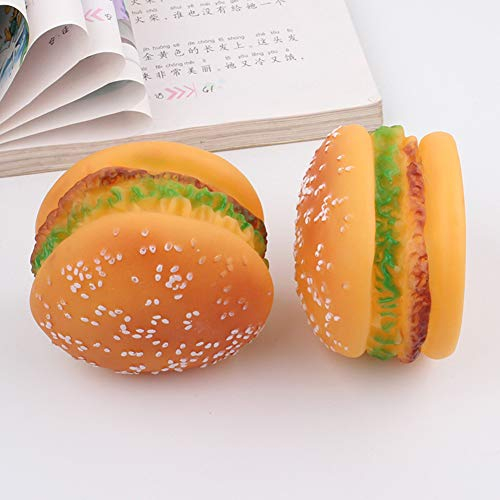 Hemore Hundespielzeug, quietschender Burger, Cheeseburger, Kauspielzeug, Silikon, 9,5 x 5 cm