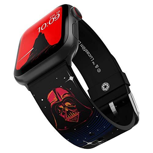 Star Wars - Correa para reloj inteligente Darth Vader - Licencia oficial, compatible con Apple Watch (no incluido) - Se adapta a 38 mm, 40 mm, 42 mm y 44 mm