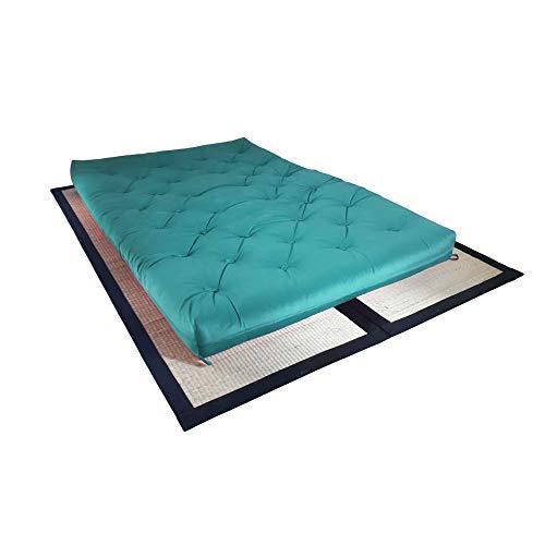 Colchão futon casal dobrável sofa cama azul turquesa