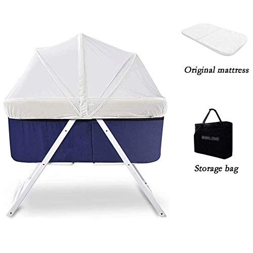 Rocking Crib Foldable Travel Bed Verleng Environmental Protection Safety Bearing Strong Portable Bed Side Sleeper for pasgeboren baby (Color : Blue)