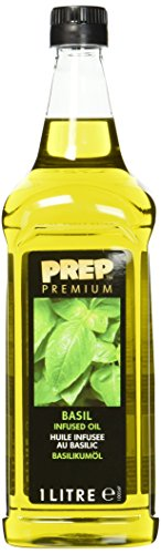 PREP PREMIUM Basilikumöl 1 x 1000 ml PET - Infused Oil natürliches Basilikumaroma für Fisch, Geflügel, Gemüsegerichte oder Salatdressings, Olivenöl mit Basilikum