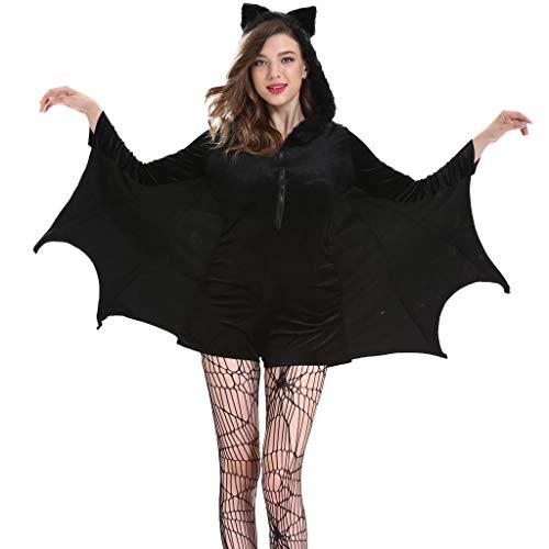 Costume da Pipistrello di Halloween Cosplay Tuta da Pipistrello Adulto Vampire Bat Ali Nere Mantello Nero da Pipistrello per Le Donne Ragazze Halloween Favore di Partito