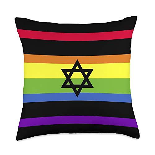 Jerusalem Hanukkah Star of David Israel Gifts Star Of David Gay Pride Month Gift LGBT Rainbow Flag Israel Throw Pillow, 18x18, Multicolor