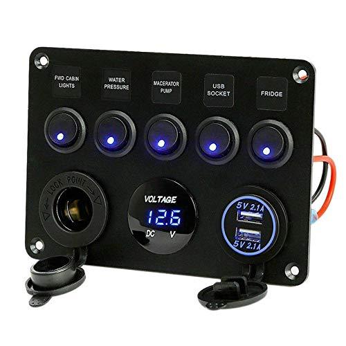 N\A 5 Gang 12V / 24V Caja de fusibles en línea Panel de interruptores LED Dual USB Coche Camioneta Camper Voltaje Digital Pantalla Azul/Verde Luz LED Interruptor de relevo de Coche (Color : Blue)