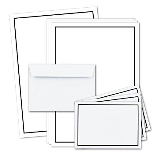 25x Trauer-Papier-Sets DIN A5 Brief-Papier & DIN C6 Trauer-Umschläge I schwarzer Trauer-Rand I 148 x 210 cm I für Laser & Inkjet I TrauerPapiere by Gustav NEUSER®
