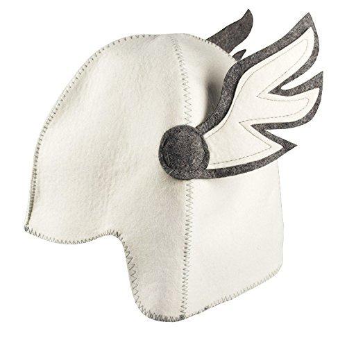 GMMH® Saunahut 'Hermes Flügel' (1541), Weiss/Grau, Saunamütze Saunakappe Filzkappe Filzhut aus 100% Filz Hut Kappe für Sauna