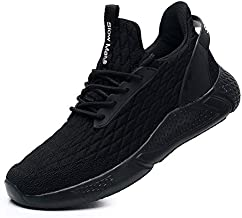Running Shoes for Men Sneakers- Comfortable Walking Jogging Breathable Shock Cushioning Training Gym Shoes All Black,12