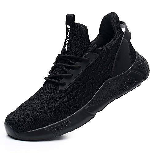 Men's Walking Running Shoes Black - Comfortable Mesh Breathable Sneakers Socks Fit Shock Cushioning Training Gym Shoes All Black,6.5
