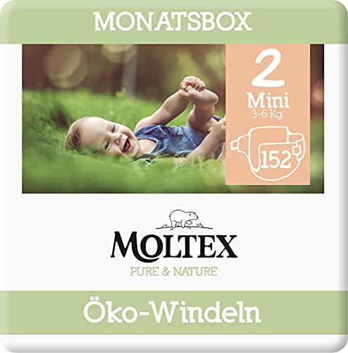 Moltex Pure & Nature Öko Windeln Größe 2 Mini (3-6 kg) Monatsbox -152 Bio Windeln