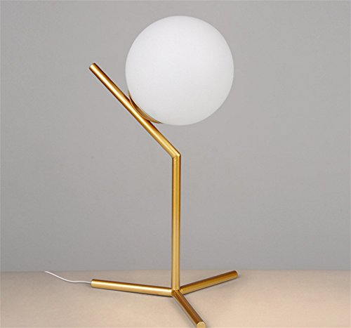 CHUANGJIE Creatieve LED tafellamp bal glas slaapkamer lamp warm decoratie leren bedlampje 2-lichtgrijs