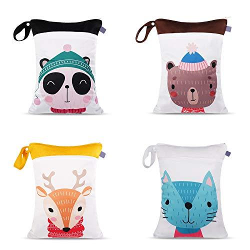 N&A Wet Bag Borsa Impermeabile Borsa per Pannolini Lavabili Sacchetto Impermeabile Bambini con Cerniera Contenere i Pannolini Organizer Porta Pannolini (4 pezzi)
