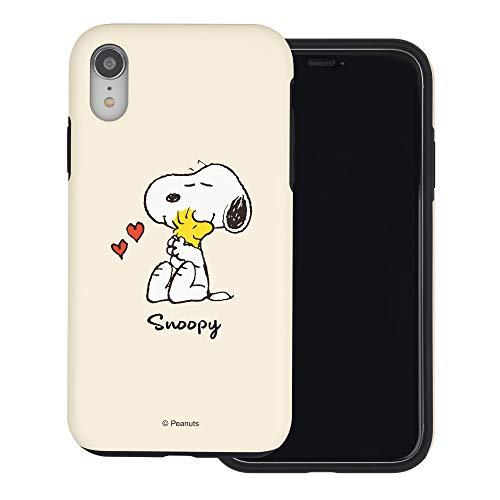 iPhone XR ケース と互換性があります Peanuts Snoopy ピーナッツ スヌーピー ダブル バンパー ケース デュアルレイヤー 【 アイフォンXR 】 (スヌーピー ウッドストック 抱擁) [並行輸入品]