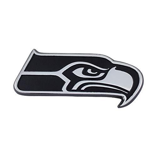 FANMATS NFL Unisex Chrom-Emblem, Unisex, Seattle Seahawks, Chrome, 1.4 in. x 3.15 in.