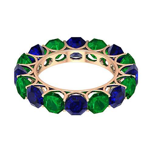 Anillo de boda de eternidad, 5,2 quilates de zafiro azul creado en laboratorio de 3,8 quilates de 5 mm, anillo de esmeralda, anillo de piedras preciosas alternas, oro rosa de 18 quilates, talla Z+1