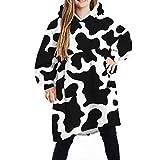 Puimentiua Boys Girls Oversized Sherpa Wearable Blanket Cute Print Blanket Sweatshirt Hooded Wearable Blanket(4-14T)(Cow)