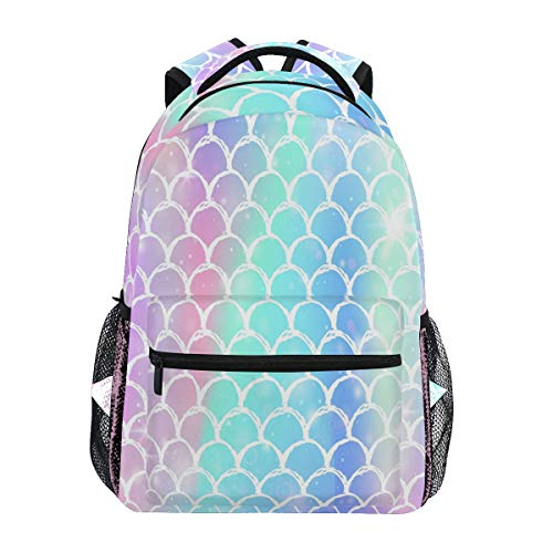 Wamika Colorful Mermaid Scale Backpacks for Girls Women, Rainbow Marble Galaxy Computer Laptop Backpack, Fish Scales Kid's School Book Bag, Casual Travel Camping Daypack