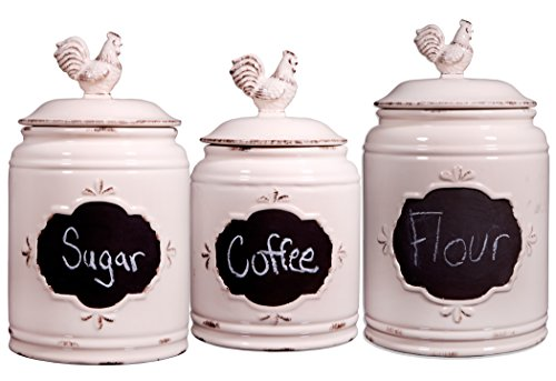 Home Essentials S/3 Ivory Chalkboard Canisters