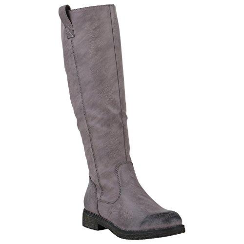 Stiefelparadies Gefütterte Damen Stiefel Reiterstiefel Langschaft Boots Schuhe 149763 Grau Berkley 36 Flandell