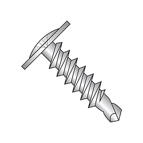 410 Stainless Steel Self-Drilling Screw, Plain Finish, Modified Truss Head, Phillips Drive, #3 Drill Point, #10-16 Thread Size, 1' Length (Pack of 25)