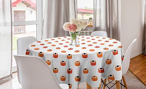 ABAKUHAUS Sushi Rond Tafelkleed, Rauwe vis en rijst met kaviaar, Decoratie voor Eetkamer Keuken, 150 cm, Oranje Zalm Donkerblauw