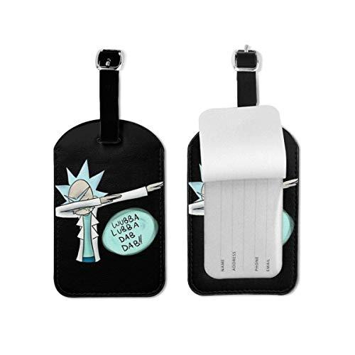 Etiquetas de equipaje Rick Morty Cartoon Luggage Tags Maletas Bolsas de equipaje Correa ajustable Etiqueta de equipaje de cuero para etiquetas de identificación Set para viajes TAG-313