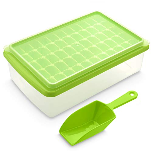 Ice Cube Tray With Lid and Bin | 55 Mini Nuggets Ice Tray For Freezer | Comes with Ice Container, Scoop and Cover | Good Size Ice Bucket
